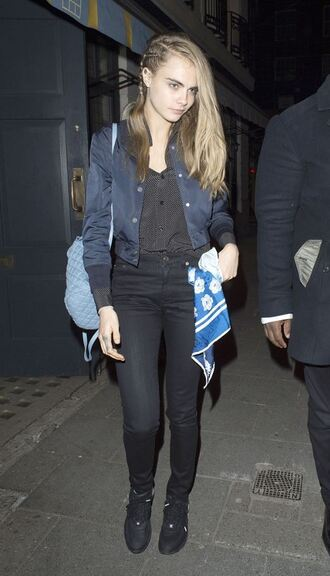 blouse top jacket cara delevingne hairstyles braid pants shirt cropped jacket