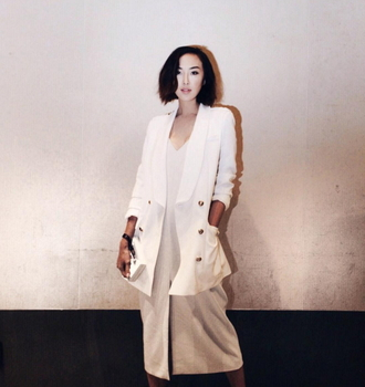 jacket white outfit party chrisellelim blazer white blazer white jacket winter outfits winter jacket blogger streetstyle