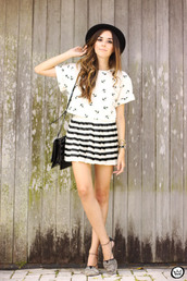 fashion coolture,blogger,mini skirt,striped skirt,anchor,white t-shirt,flats,top,skirt,bag,hat,jewels,shoes
