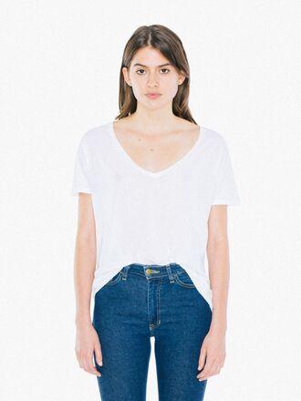 t-shirt white t-shirt v neck cotton summer top