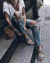 shoes,tumblr,sandals,flat sandals,denim,jeans,blue jeans,ripped jeans,bag,brown bag,bucket bag,t-shirt,white t-shirt