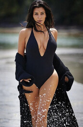 swimwear,peixoto,black,celebrity,cheeky,one piece,v neck