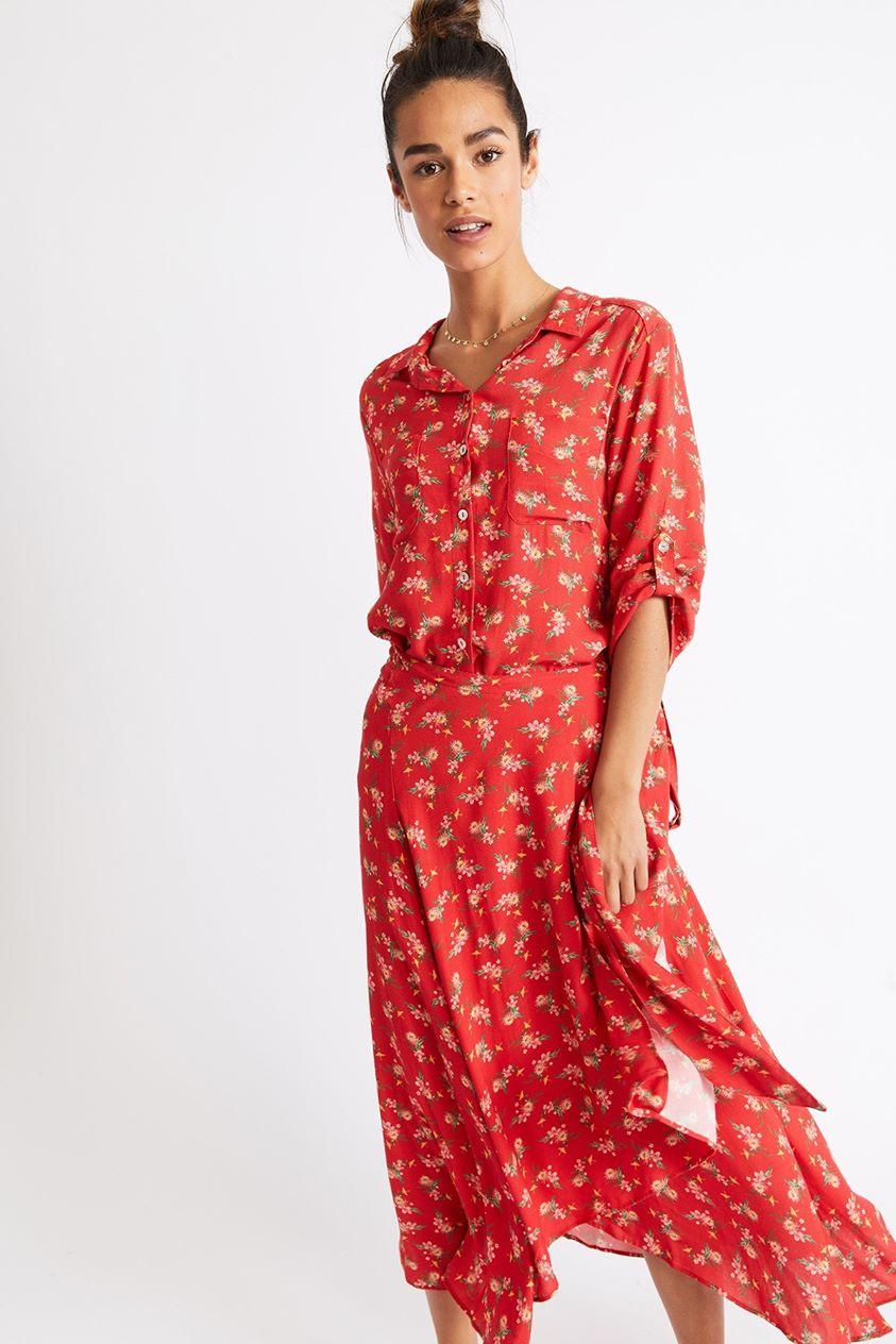 Emley Fresford Long Red Flowered Dress