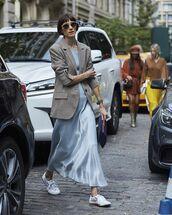 dress,light blue dress,long dress,long light blue dress,jacket,blazer,sunglasses