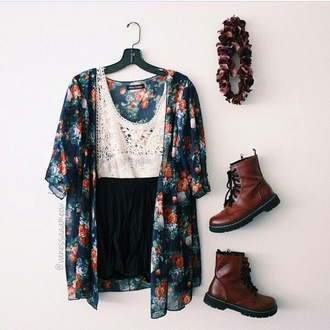 cardigan floral colorful boots red headband dress teenagers new trendy girly outfit