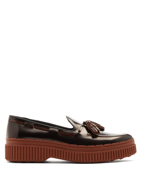 TOD'S loafers leather black brown shoes