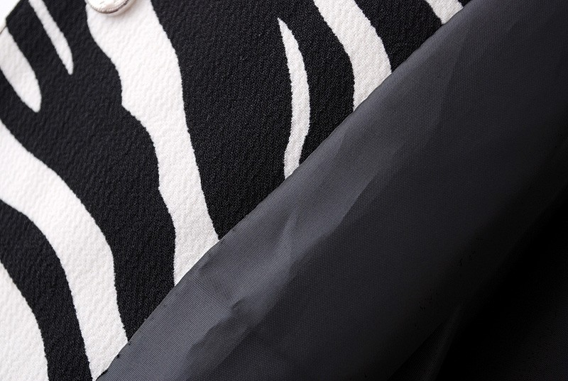 Black and White Zebra Print Round Neck Coat - Sheinside.com