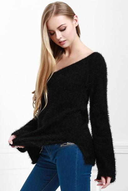 sweater black long sleeves knitwear warm fashion style trendy zaful