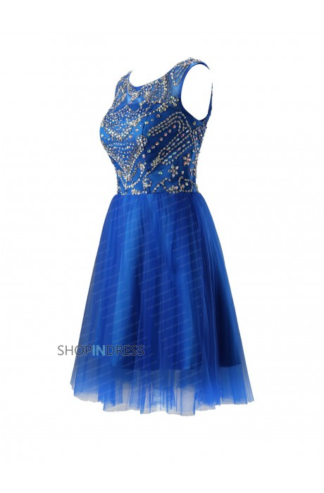 Line scoop short/mini chiffon royal blue prom dress with embroidery npd2044 sale at shopindress.com