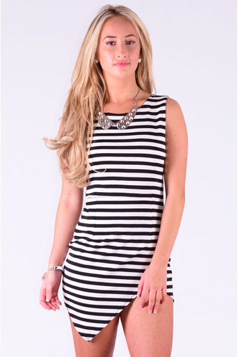Ladies Laban Cross Over Curve Hem Dress In Black & White at Pop Couture UK