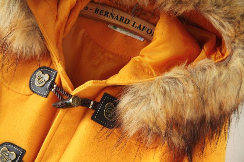 Yellow hooded long sleeve pockets woolen coat