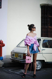 little black boots,blogger,top,jeans,bag,skirt,hat,pink blouse,off the shoulder top,mules,denim skirt,mini skirt