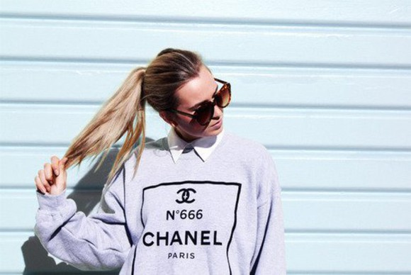 chanel coco channel sweater glasses