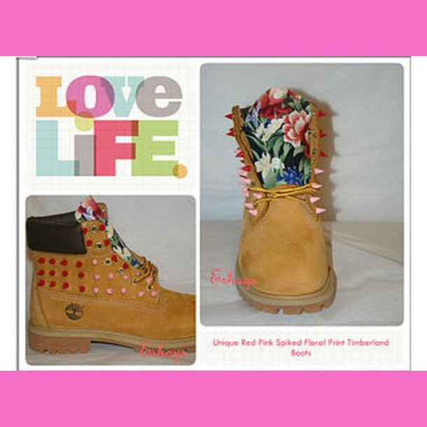 shoes custom spike timberland boots floral timberland asian floral red pink  spikes gold wheat timberlands timberland