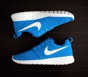 shoes,nike roshe run,nike,hero blue