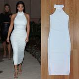 White turtleneck long midi dress (c)