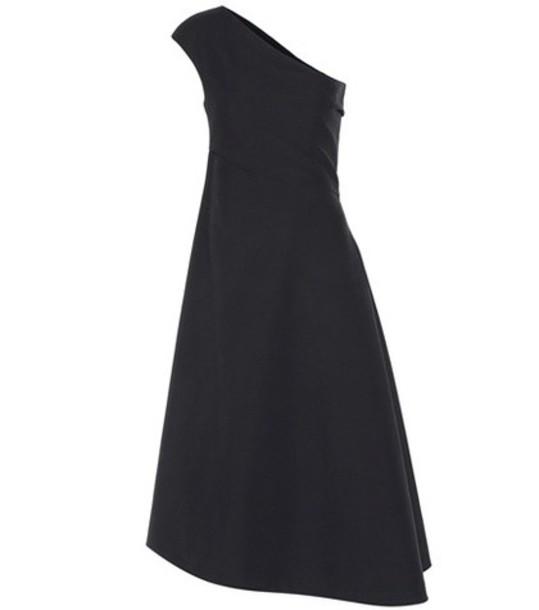 The Row Asymmetric Cotton Midi Dress in black