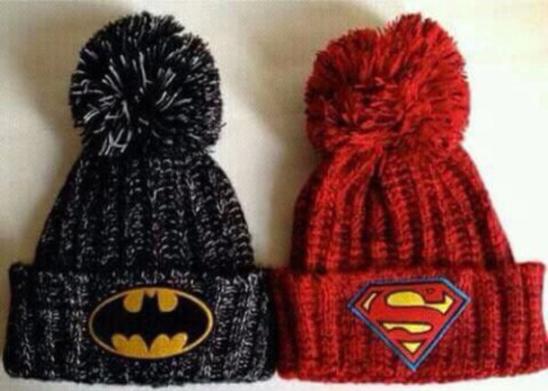 cdc4d7b5863 hat beanie superman batman black red white superheroes wool soft winter hat  yellow pom poms cute