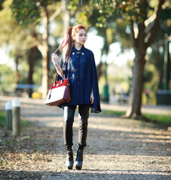chloe ting blogger blouse bag leggings jewels shoes