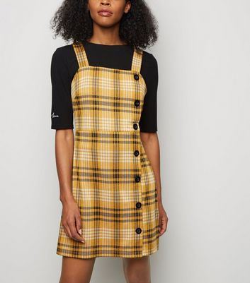 Mustard Check Button Side Pinafore Dress | New Look