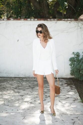 le fashion monster blogger jacket shorts top bag shoes blazer white blazer pumps shoulder bag