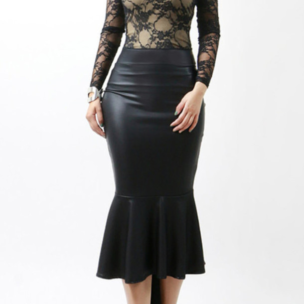 dress mesh top and faux leather bottom