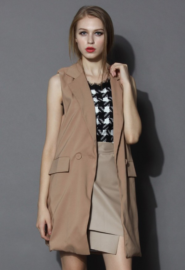 top chicwish sleeveless blazer longline blazer
