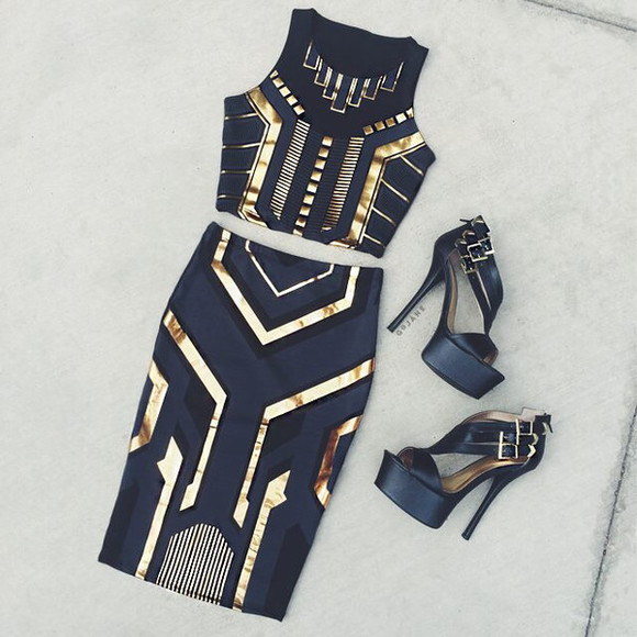 black egyptian gold aztec crop tops shoes gold sequins