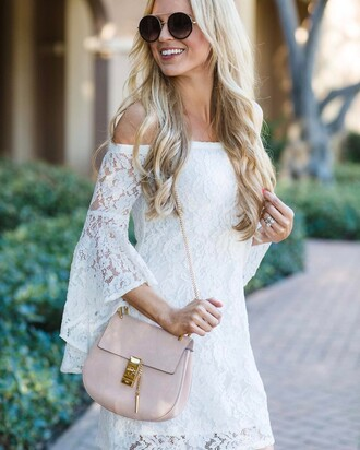 dress tumblr mini dress white dress lace dress white lace dress bell sleeves bell sleeve dress bag pink bag off the shoulder off the shoulder dress sunglasses
