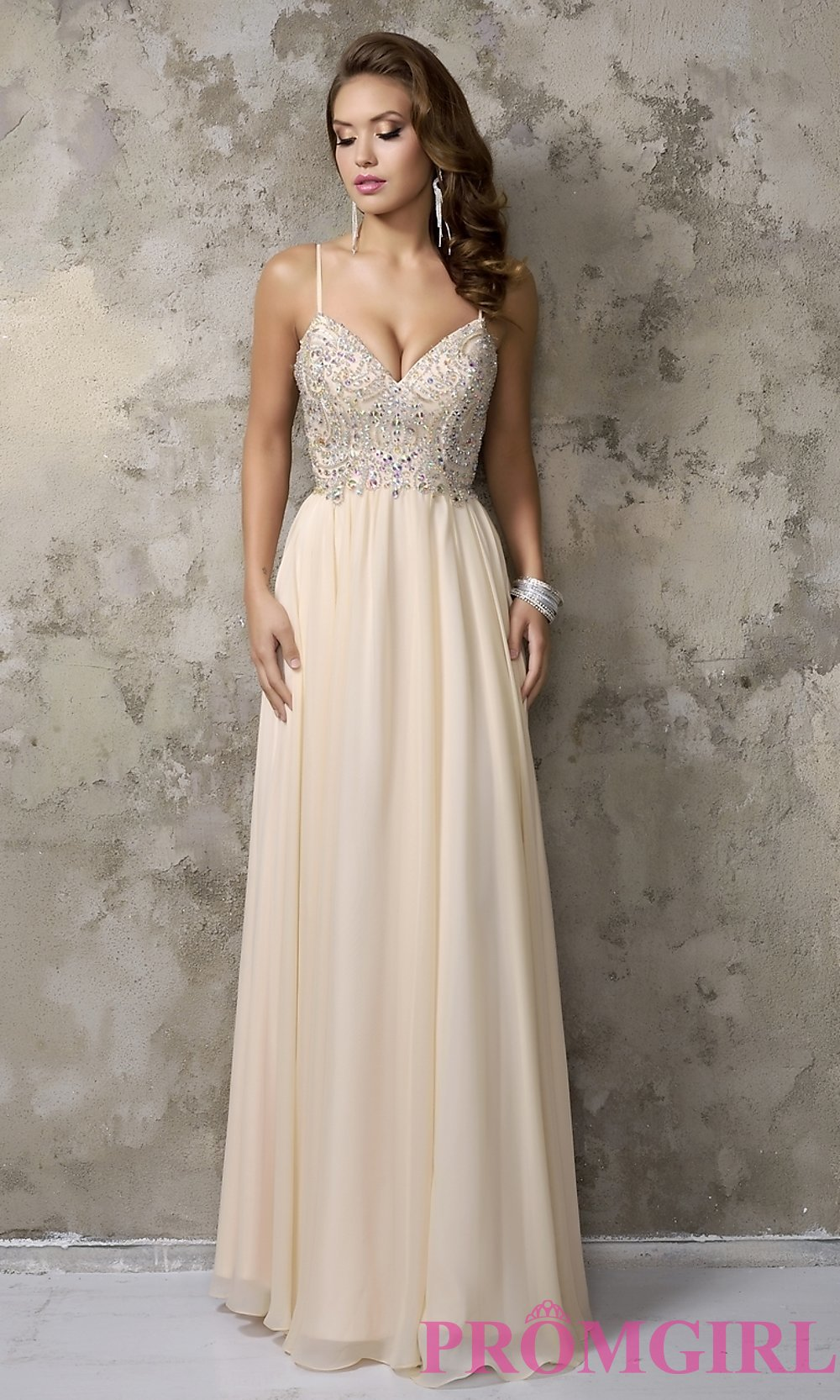 c153f11797 Nina Cannaci Long V-Neck Prom Dress