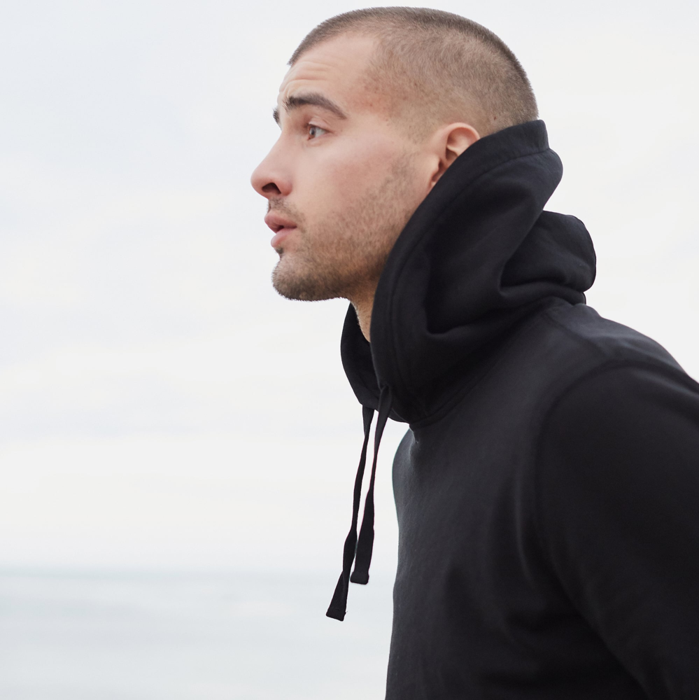Mens French Terry Pullover Hoodie in Jet Black