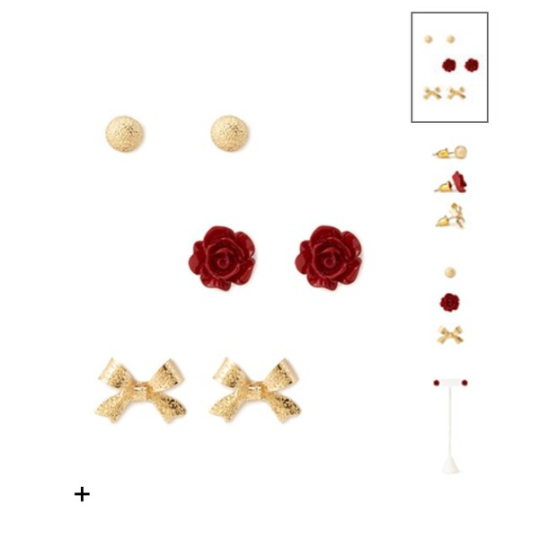 jewels earrings roses red rose red roses bows bow earrings cute girly gold gold earrings gold earrings gold bows gold jewelry