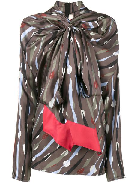 Marni - exaggerated tie neck top - women - Silk - 38, Silk