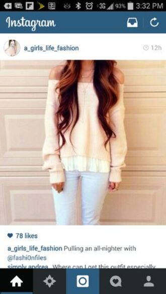 peach sweater off the shoulder sweater cardigan cream cochet