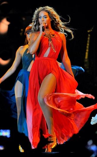 dress beyonce orange dress prom dress long dress beauiful orange gold