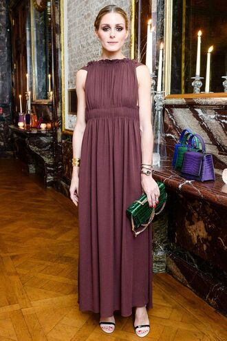 dress gown prom dress burgundy maxi dress sandals fashion week 2016 olivia palermo purse