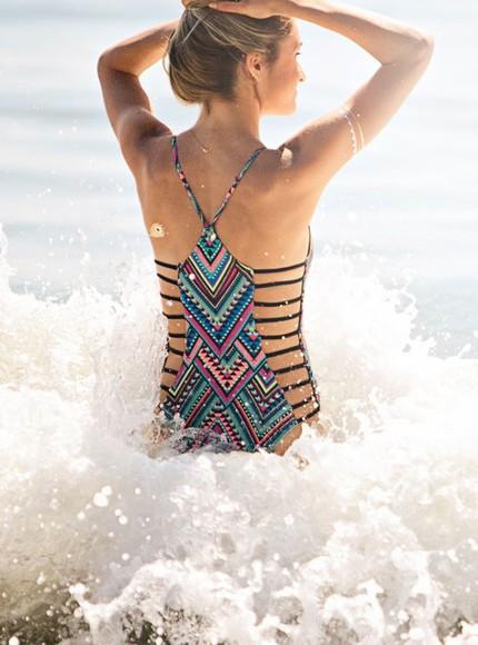 navajo jewels swimwear bikini one piece swimsuit tribal pattern strappy bikini flash tattoos flash tattoo print bikini navajo gypsy native cheeky
