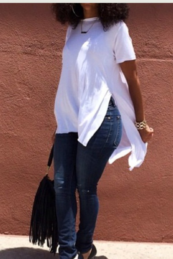 t-shirt white slit top slit