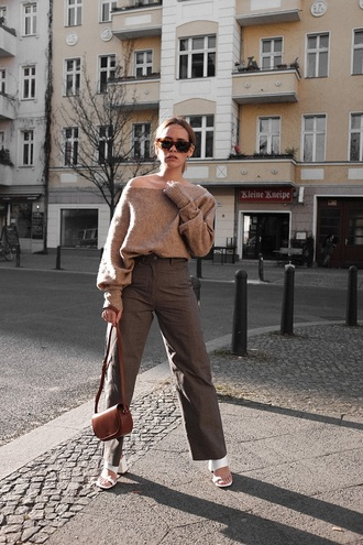 shoes white shoes mules pants sweater brown sweater bag khaki pants khaki wide-leg pants