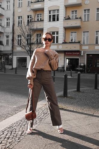 shoes white shoes mules pants sweater brown sweater bag khaki pants khaki wide-leg pants