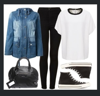 black jeans jeans t-shirt jacket grunge black tumblr wadrobe denim jacket vintage coat hight tops converse denim jacket white shirt style high top sneakers