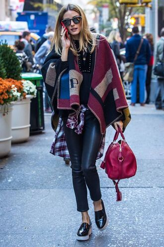 pants top scarf coat poncho olivia palermo fall outfits
