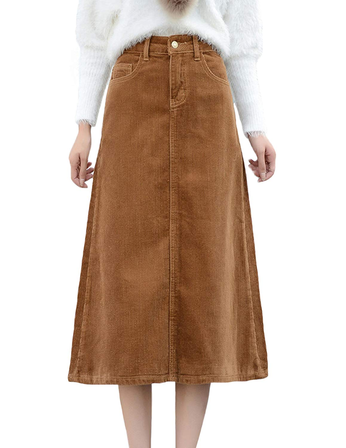 ZANLICE Women's A-Line Cotton Corduroy Midi Skirts with Pockets S-2X at Amazon Women's Clothing store: