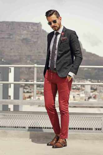 what my boyfriend wore blogger sunglasses jacket shirt menswear classy burgundy pants mens suit preppy fall outfits
