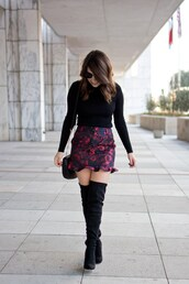 champagne&citylights,blogger,skirt,sweater,shoes,bag,boots,over the knee boots,mini skirt,fall outfits
