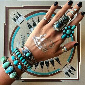 jewels jewelry ring boho bohemian henna