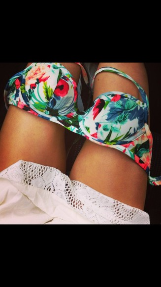 swimwear bikini floral flowers floral swimwear top pink blue swimwear