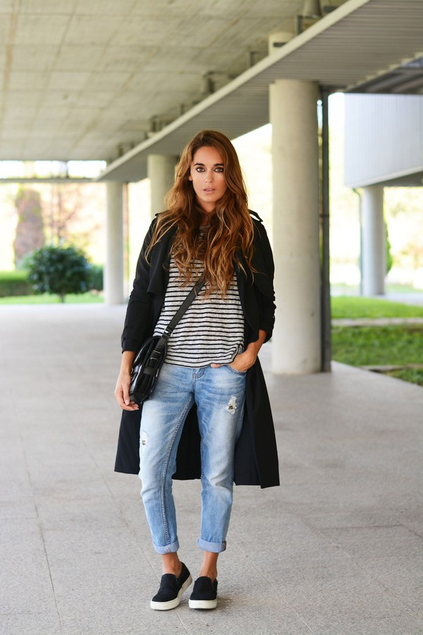 stella wants to die blogger top bag jeans trench coat stripes ripped jeans vans
