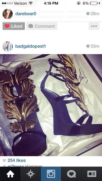 shoes black wings heels kanye west cupid