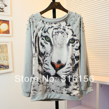 485 2014 new Thin Pullovers  Punk Studs Hoodies Women Tiger Printed Rivet Neck Long Sleeve thin polyster SweatshirtsFreeshipping-in Hoodies & Sweatshirts from Apparel & Accessories on Aliexpress.com